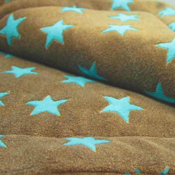 Matdox Kuschelfleece Decke STARS karamell/türkis