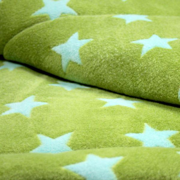 Matdox Kuschelfleece Decke STARS grün/hellblau