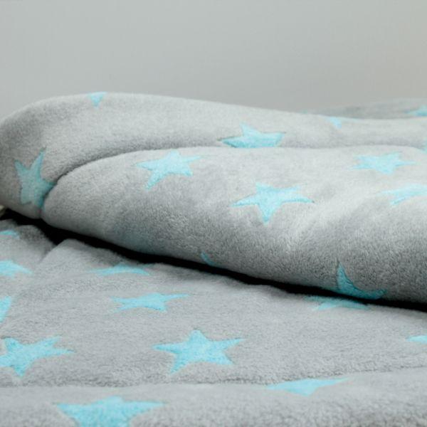 Matdox Kuschelfleece Decke STARS grau/hellblau