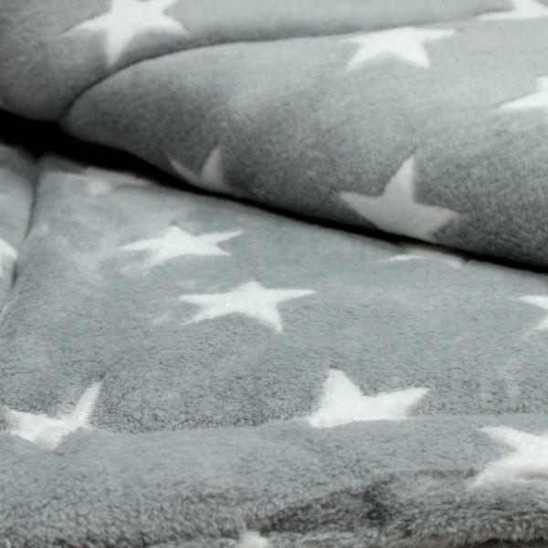 Matdox Kuschelfleece Decke STARS grau/weiss