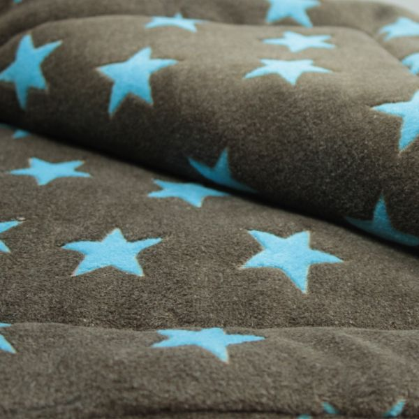 Matdox Kuschelfleece Decke STARS braun/türkis