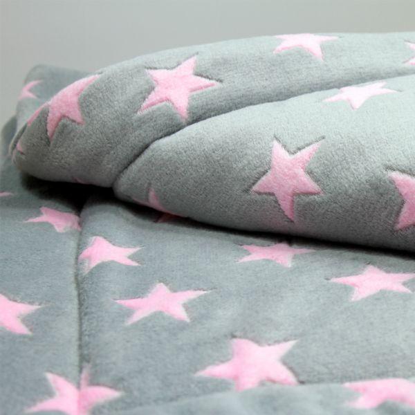 Matdox Kuschelfleece Decke STARS grau/rosa